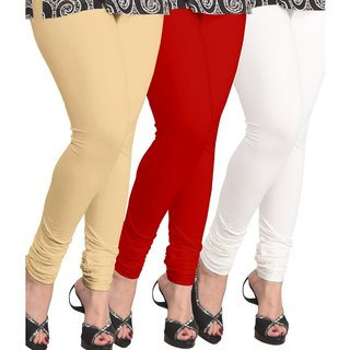 BuyNewTrend Beige Red White Cotton Legging For Women-Pack of 3