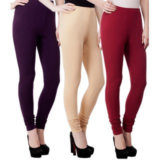 BuyNewTrend Black Beige Maroon Cotton Legging For Women-Pack of 3