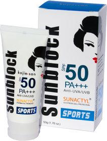 Kojie San Sunblock SPF50 PA+++ Anti UVA/UVB SPORTS 50g (Pack of 1)