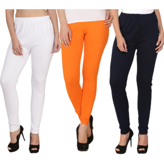 BuyNewTrend White Orange Black Plain Full Length Woolen/Winter Legging For Women