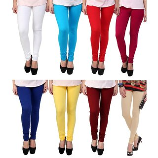 BuyNewTrend White Sky Blue Red Maroon Royal Blue Yellow Magenta Beige Cotton Legging For Women-Pack of 8