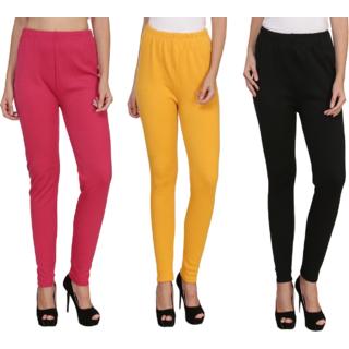 BuyNewTrend Pink Yellow Black Plain Full Length Woolen/Winter Legging For Women