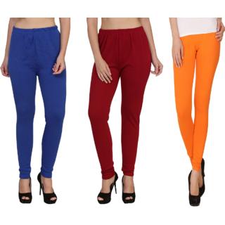 BuyNewTrend Royal Maroon Orange Plain Full Length Woolen/Winter Legging For Women