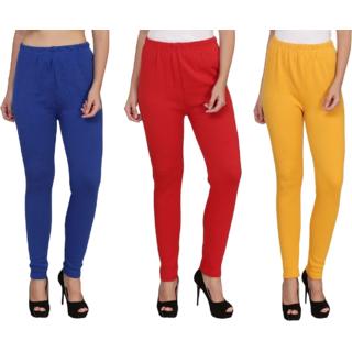 BuyNewTrend Royal Red Yellow Plain Full Length Woolen/Winter Legging For Women