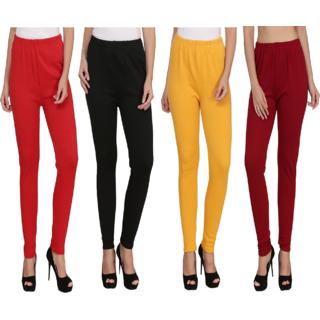 BuyNewTrend Red Black Yellow Maroon Plain Full Length Woolen/Winter Legging For Women