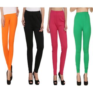 BuyNewTrend Orange Black Green Pink Plain Full Length Woolen/Winter Legging For Women