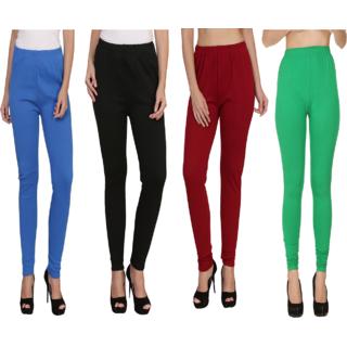 BuyNewTrend Sky Black Maroon Green Plain Full Length Woolen/Winter Legging For Women
