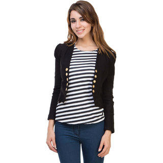 BuyNewTrend Cotton Lycra Black Shrug with Top For Women