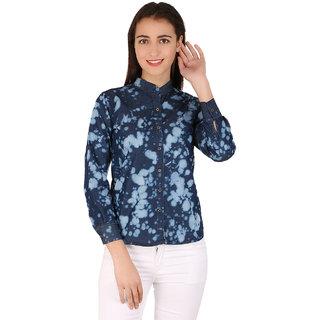 BuyNewTrend Full Sleeve Denim Blue Shirt For Women