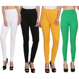 BuyNewTrend White Black Yellow Green Plain Full Length Woolen/Winter Legging For Women