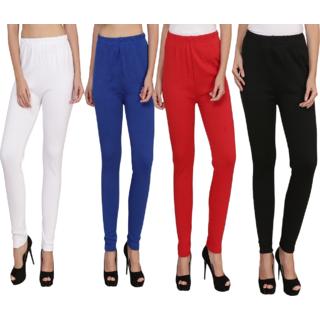 BuyNewTrend White Royal Red Black Plain Full Length Woolen/Winter Legging For Women