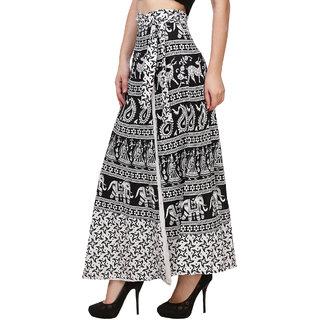 BuyNewTrend Black N White Animal Printed Wrap Around Full Length Skirt For Women