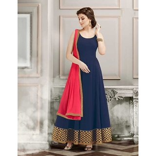 New latest  designer  navy blue Grorgette long Anarkali suit