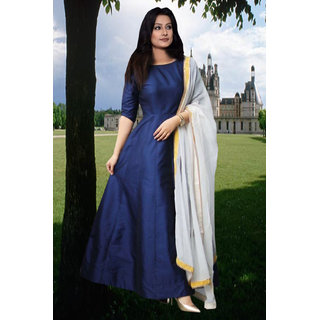 Brand New lattest and gorgeous designer blue Taffeta silk Anarkali suit