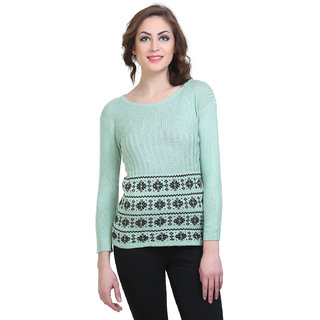 BuyNewTrend Woolen Light Green Full Sleeve Short Sweater/Pullover For Women