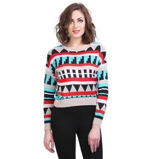BuyNewTrend Woolen Multicolor Full Sleeve Short Sweater/Pullover For Women