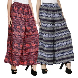 BuyNewTrend Printed Crepe Palazzo For Women (Pack of 2)