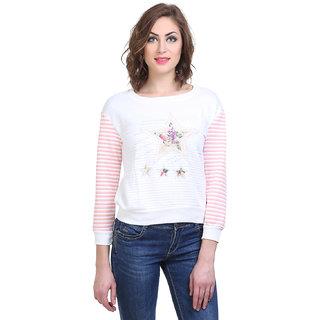 BuyNewTrend Woolen White Full Sleeve Short Sweater/Pullover For Women