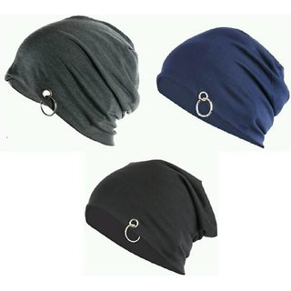 NEW Men Beanie Baggy Slouchy cap hat with Ring thin winter/fall Hat (pack of 3)