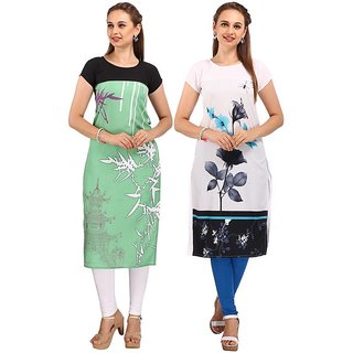 Rite Creations Stitched Multi Colored Pack of 2 Kurti