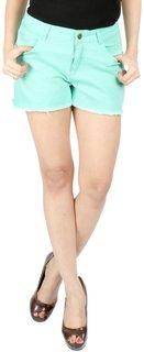22nd Street Green Basic Shorts for Women