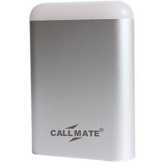 Callmate Power Bank 10400 With Dual USB Charging Port With LED Light-Silver