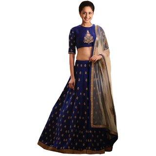 Aika Embroidered Banglori Fabric Lehenga Choli For Women (Blue) LAVM2101