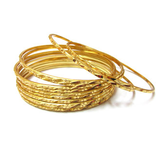 Rabbi Gold Plated 12 Pcs Bangles BN01P12 Size 26