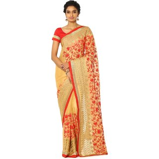 Soch Beige and Red Chiffon Saree with Floral Embroidery