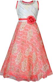 KBKIDSWEAR Girl's Embroidered Design Party Wear Premium Net Gown