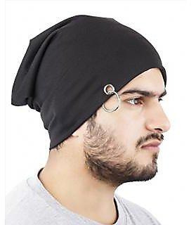 Unique Men's Black Beanie Cap With Ring