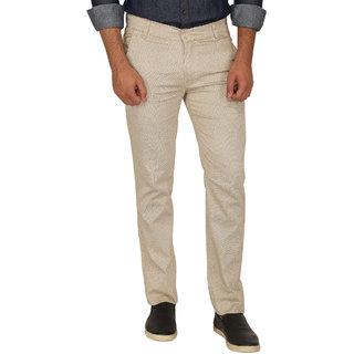 Stallion Cream Regular Fit Men's Casual Trouser