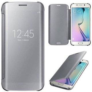 RKR Samsung Galaxy C7 PRO Mirror Flip Cover - Silver