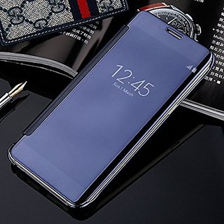 RKR Samsung Galaxy J7 Pro Luxury Clear View Mirror Smart View Case Flip Cover For  Samsung Galaxy J7 Pro - (Blue)