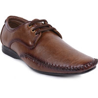 Foot N Style Brown Leather Lace Up Formal Shoes For Men