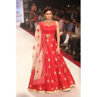 Aika Banglori  Net Fabric Embroidered Gown For Women (Free SizeRED)-GOVM2110RED