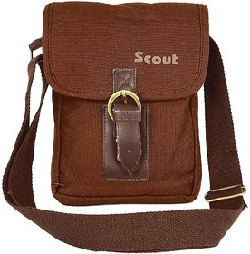Scout Piccolo Brown Canvas Casual Sling Bag (CSLB10002)