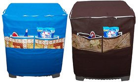 Jim-Dandy Designer Blue And Brown Washing Machine Cover With Front Pocket  Pack of 2