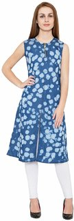 Pinky Pari Designer Denim Front Slit Zier Long Printed Tunics Stylish Back Denim Belt To Tie