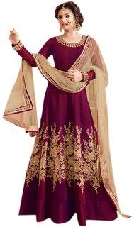 Aika Women's Tapeta Silk Fabric Embroidery Anarkali Suit (Free SizeMaroon)SS014-Naina-Maroon