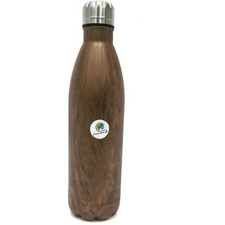 Graminheet Stainless Steel Hot  Cold Water Bottle 750ml with Wooden Look