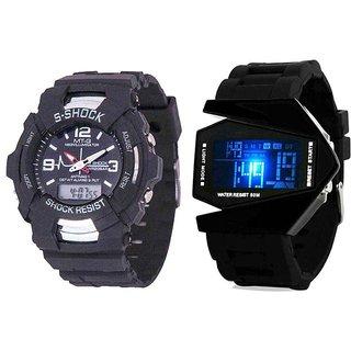 MTG Black Analog Digital Watch-Combo Offer