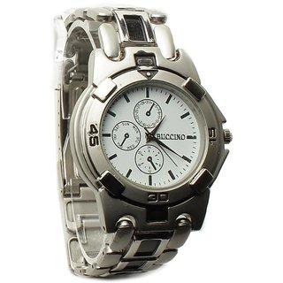 Buccino Round Dail Silver Metal StrapMens Quartz Watch For Men