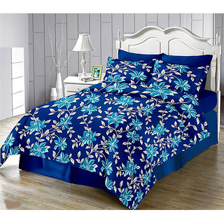 The Intellect Bazaar 152 TC Cotton Double Bedsheet with 2 Pillow covers - Double bedsheet Blue
