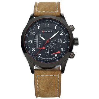 Curren Round Dial Black Analog Watch for Men
