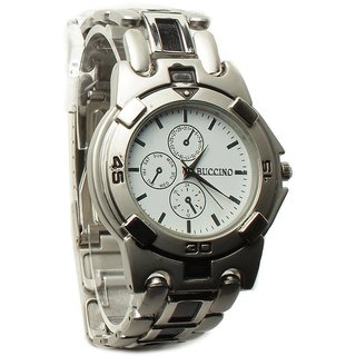 Buccino Round Dial White Analog Watch for Men