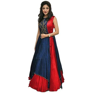 Aika Red Taffeta Embroidered Semi Stitched Gown