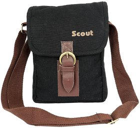 Scout Piccolo Black Canvas Casual Sling Bag (CSLB10003)
