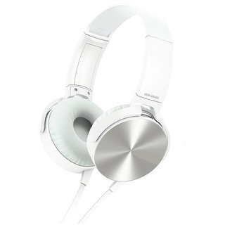 Mettle XB450 Wired Headphone With Mic (White, Over the Ear)