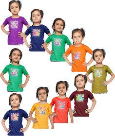 Jisha Fashion Girl'S Half Sleeves Halter Neck Top (Pack Of 10)